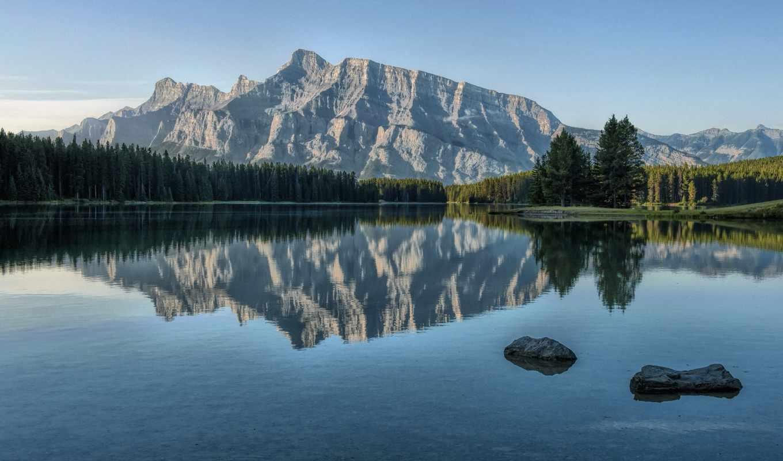 озеро, full, отражение, free, winter,