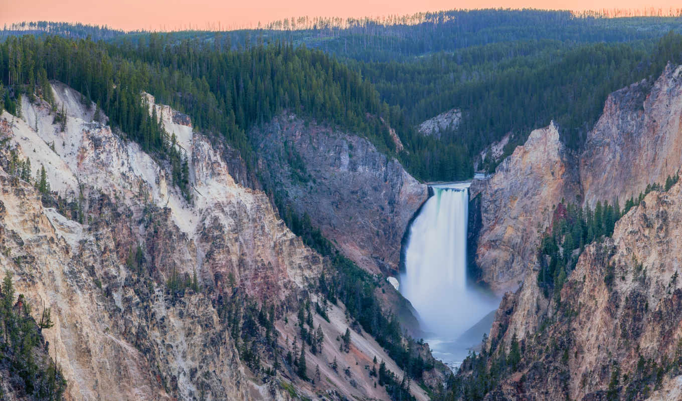 yellowstone, falls, park, national, lower, каньон, река, grand, stock, wyoming,