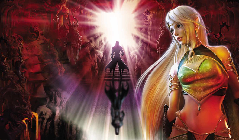 game, игры, games, fantasy, девушка, trong, воин, kingdom, свет, блондинка,, doom, fire, circle,, women,