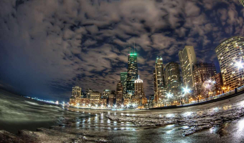 огни, город, чикаго, ночной, побережье, океан, здания, небоскребы, картинка,