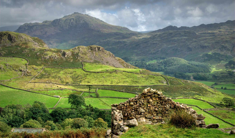 горы, шотландия, скалы, облака, небо, взгляд,