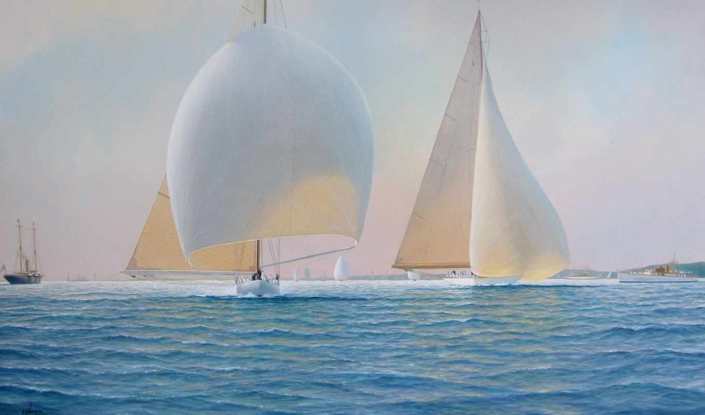 графика, море, картинка, парусники, корабли, живопись,