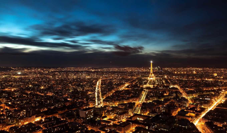париж, ночь, панорама, франция,