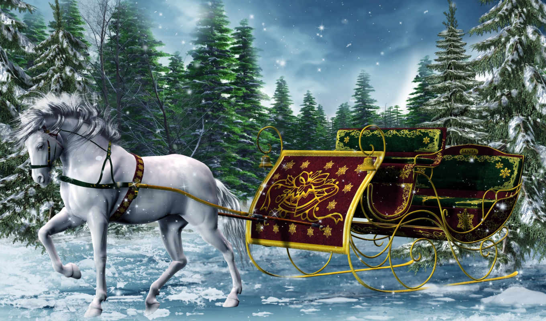 zima, лошади, сани, лошадь, года, времена, grafika, priroda,