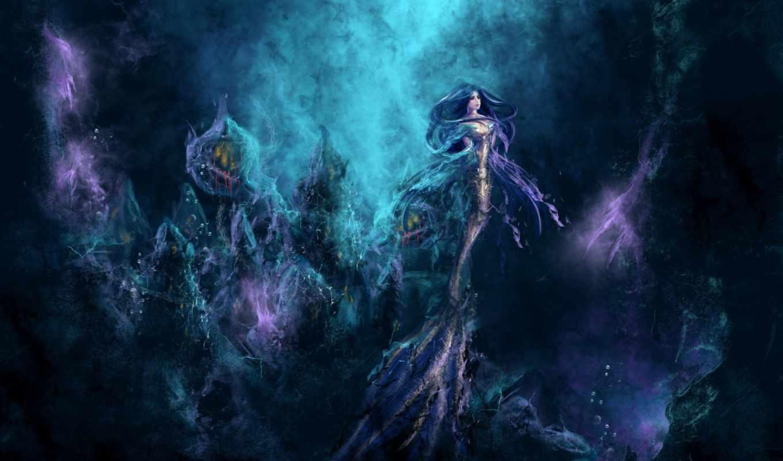 русалка, depth, ocean, water,