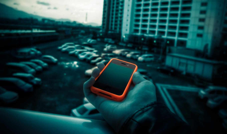 смартфон, оранжевый, балкон, парковка, фотоманипуляция