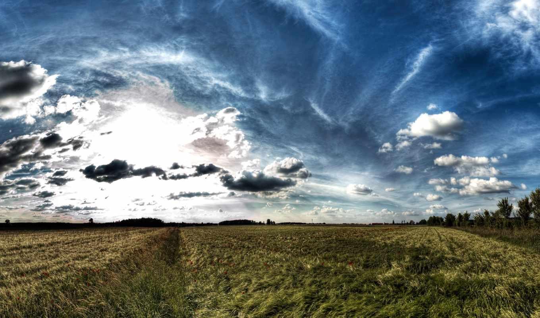 небо, desktop, поле, космос, landscape, открыть,