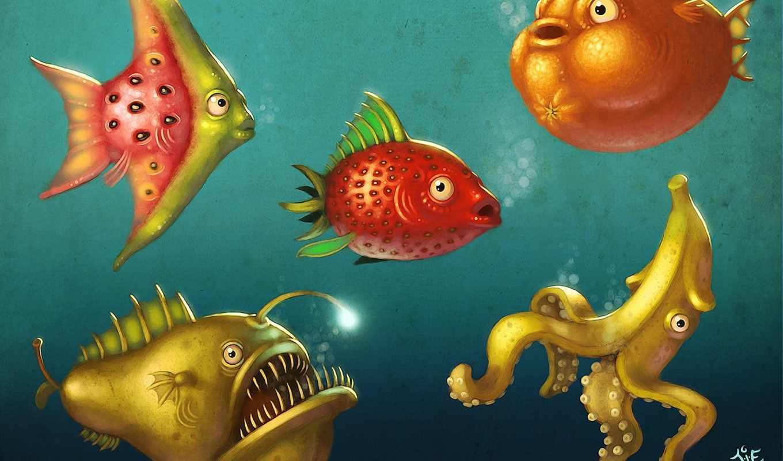 фрукты, world, underwater, pisces, море, красивые, дерево, кит, setwalls, летучие,