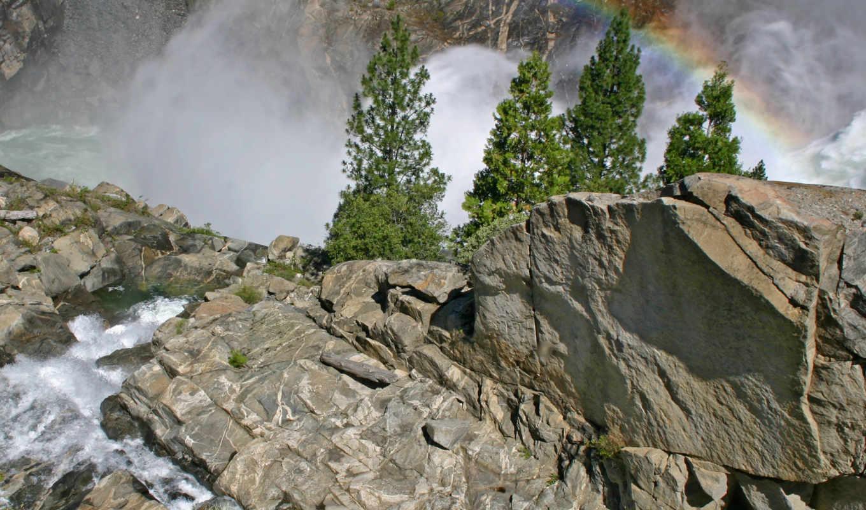rainbow, cliff, nature, desktop, изображение, size, mountains,