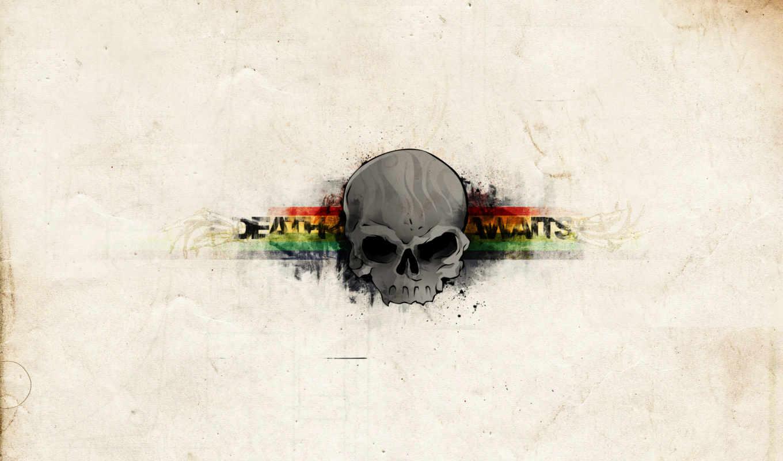череп, полоски, текстура, смерть, ждет,