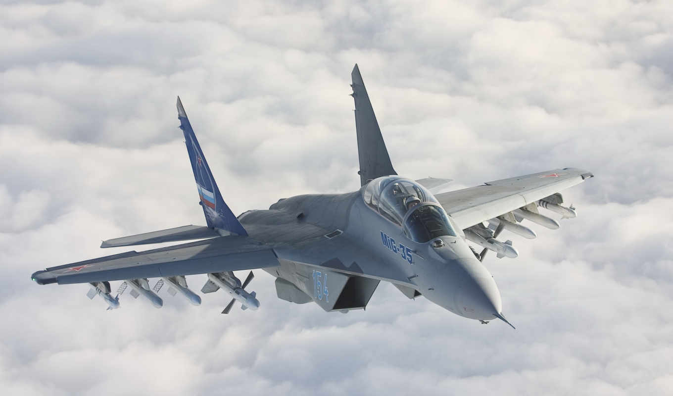 mig, mikoyan, fighter, fulcrum, clouds,