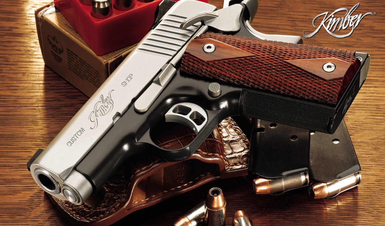 kimber, pistol, оружие, от, ствол, рукояткой, деревянной,