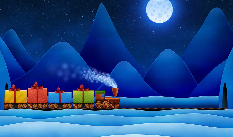 паровоз, год, новый, подарки, hồ, christmas, смотрите, train, die, für,