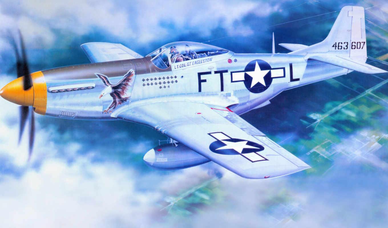 mustang, самолеты, авиация, рисованные, north, american, flugzeuge,