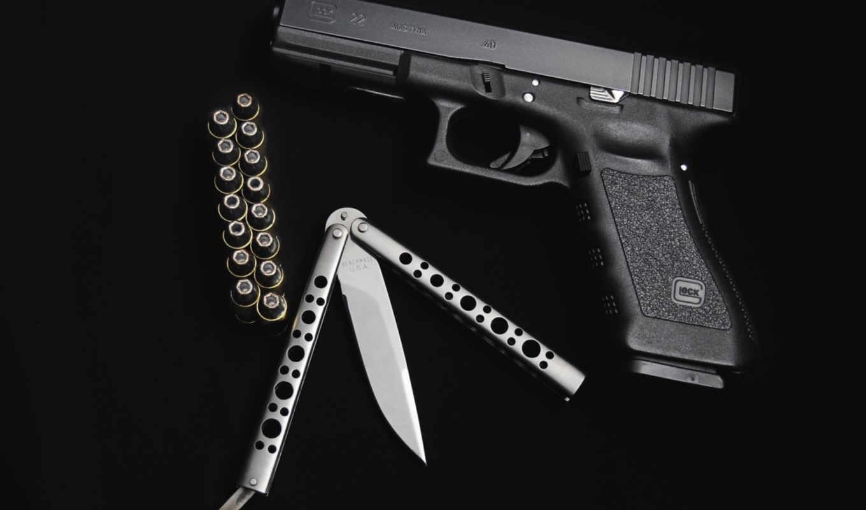 оружие, пистолет, глок, нож, паторны