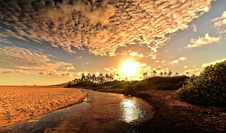 пляж, sunlight, clouds, река, pics,