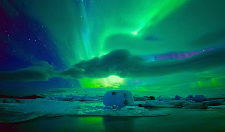 небо, northern, ночь, огни, лед, сияние, clouds, северное, льдина,
