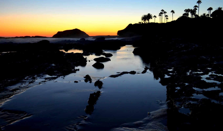 пляж, laguna, закат, california,