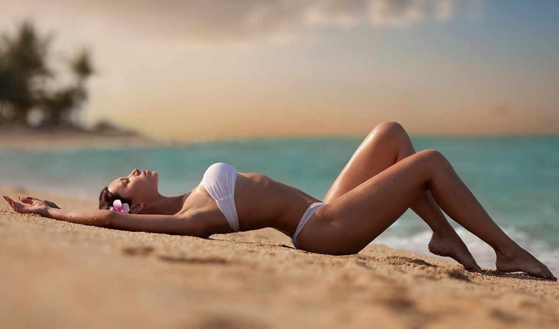 море, девушка, пляж, песок, берегу, купальник, моря,