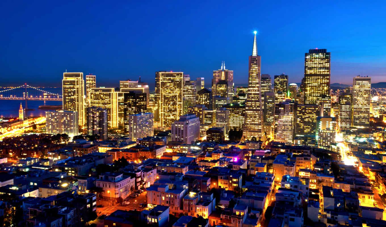 франциско, san, калифорния, usa, california, francisco, города, ночь, город,