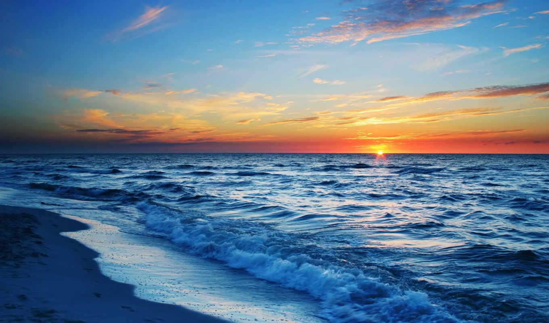 море, закат, sun,