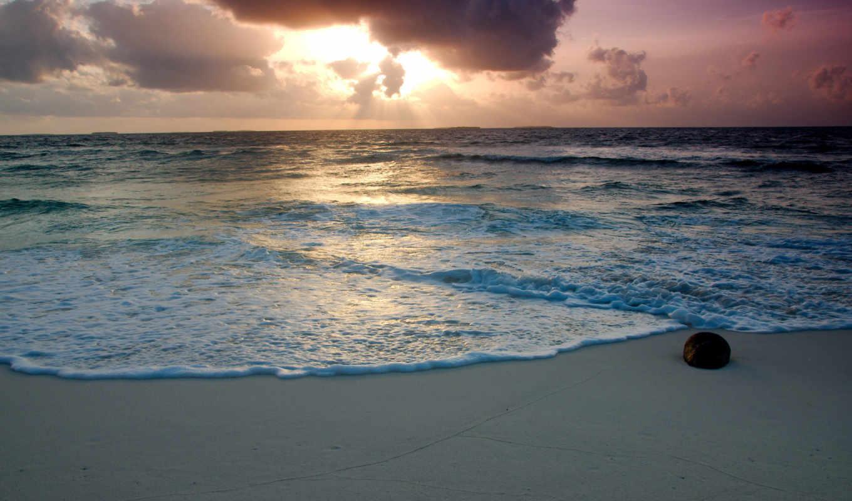 море, пена, пляж, вода, песок, облака, камень, небо, широкоформатные,