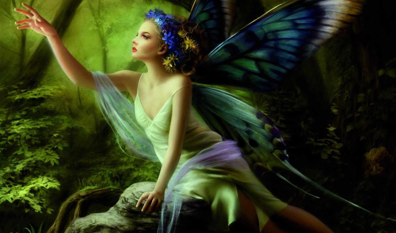 фея, бабочка, картинку, картинка, кнопкой, девушка, крылья, лес, кликните, камень, сидя, бабочки, рука,