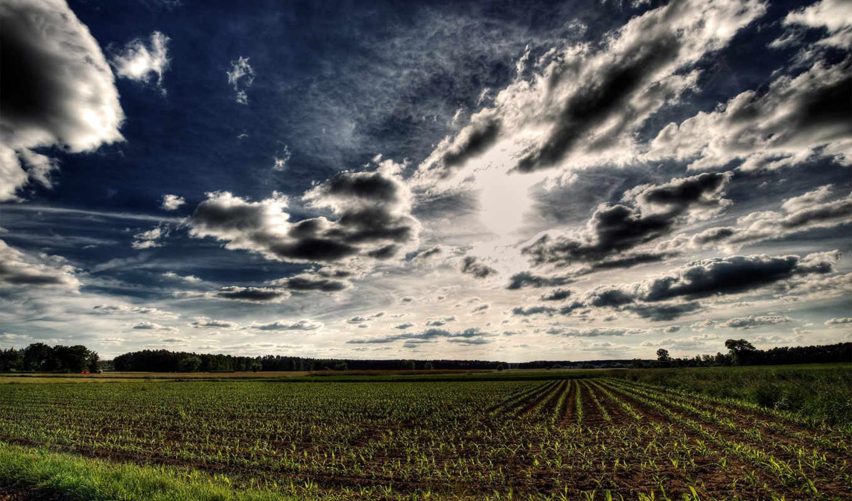 hdr, небо, поле, фотографий, oblaka, взгляд, стиле,