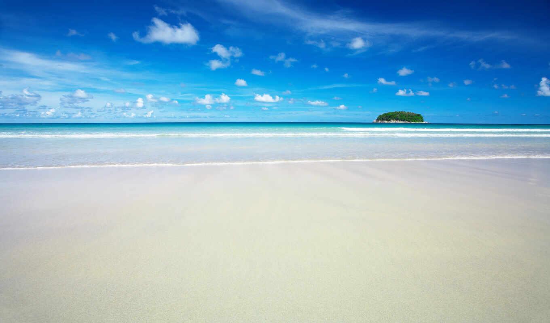 пляж, море, песок, природа, картинка, пейзажи, рай, небо, обоях, posted,