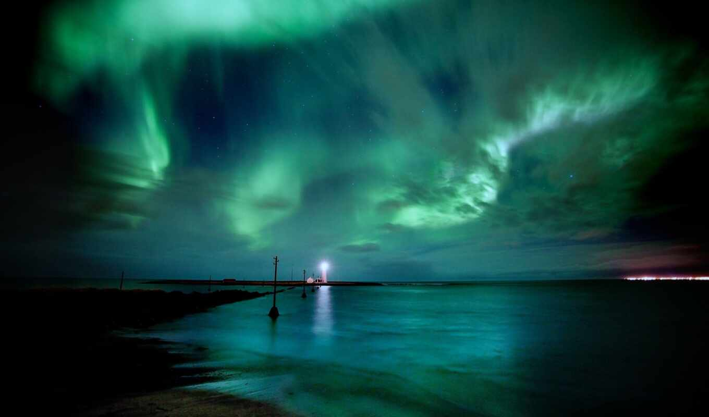 облако, бирюзовый, небо, сияние, море, northern, закат, water, lighthouse, камень, ночь