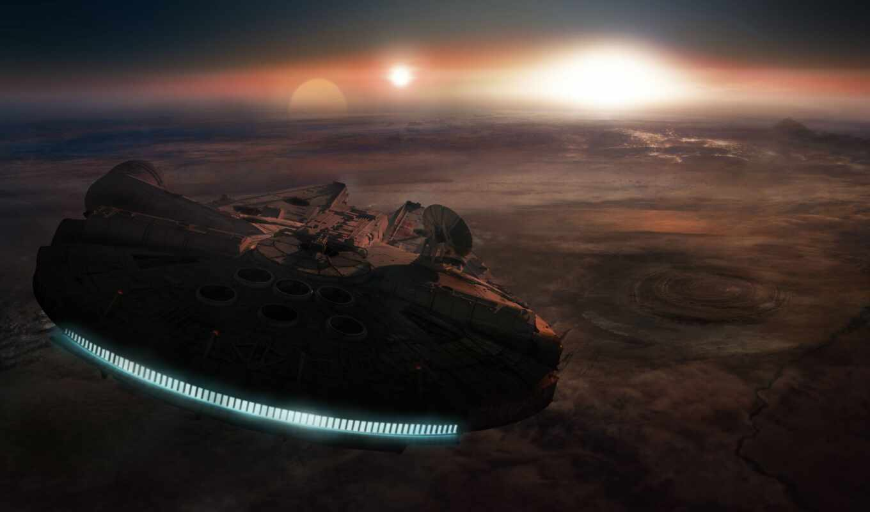 star, war, falcon, закат, millennium, пустыня