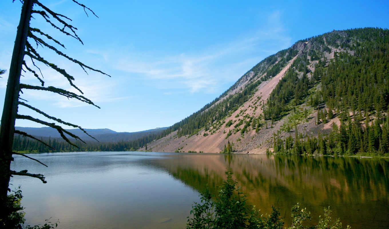 море, вода, склон, пляж, озеро, берег, дерево, landscapes, горы, горное, озера, деревья, природой, холм, река,