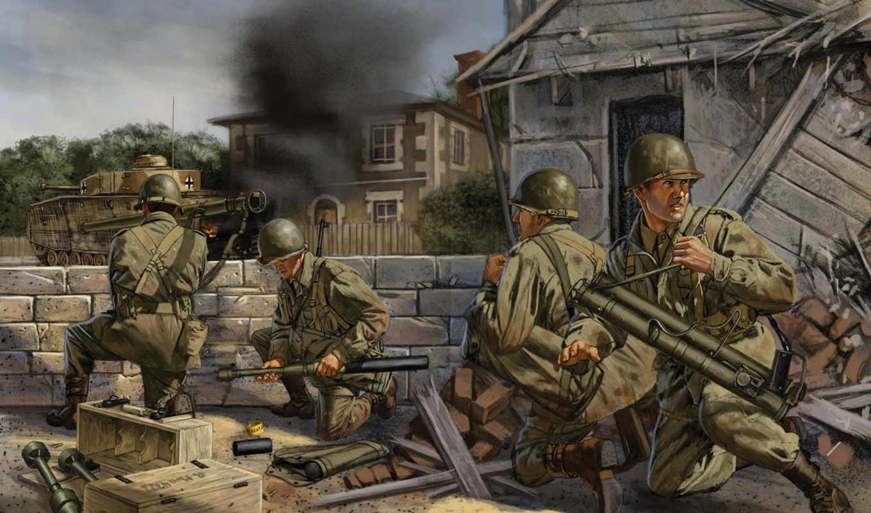 арт, война, улица, город, франция, американские, солдаты,