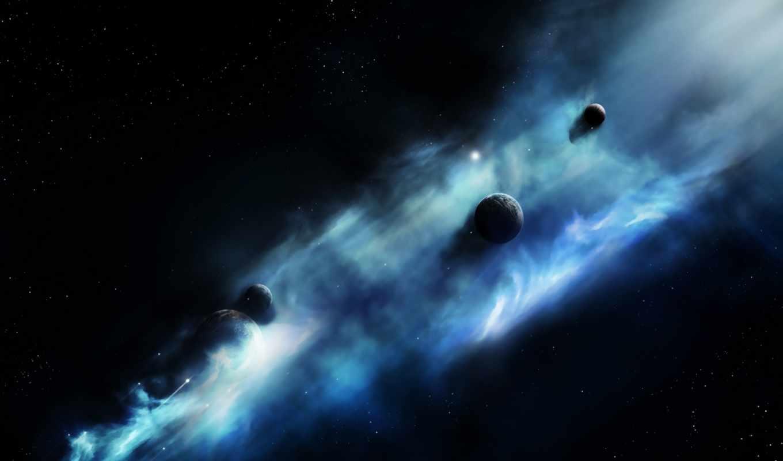 космос, планеты, туманность, звезды, картинка,