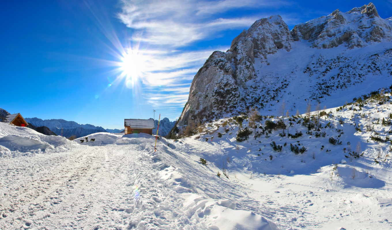 небо, снег, природа, времена, года, winter, деревья, облака, usa,