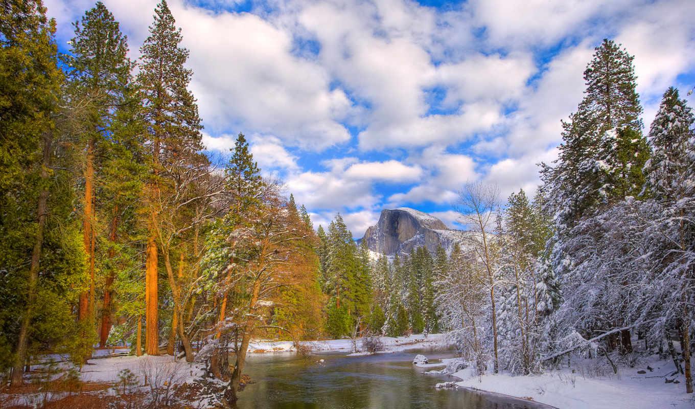 national, park, yosemite, winter, serenity, долина, california, места,