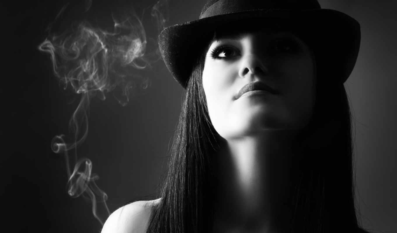 девушка, чёрно, белое, brunette, дым,