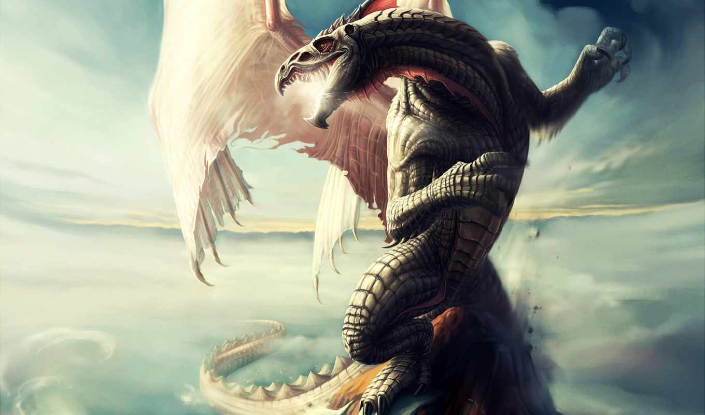 ecran, дракон, fond, фото, fonds, sur, resident, pour,