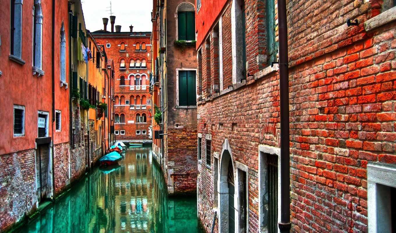 венеция, вода, италия, венецианская, дома, стена, дорога, кирпич, каналы, wallpapers, hd,