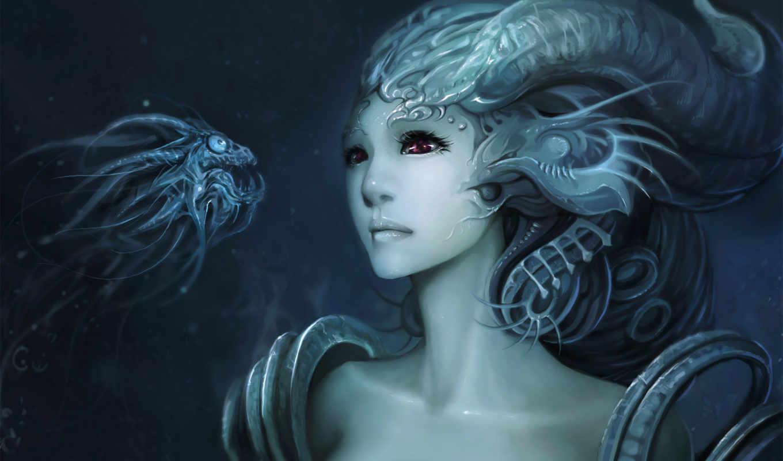 dark, fantasy, water, fairy, messenger,