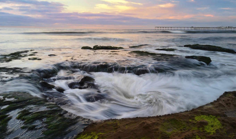 ток, горы, водоросли, море, деревя, камни, winter, pier, теги, вихри, качестве,