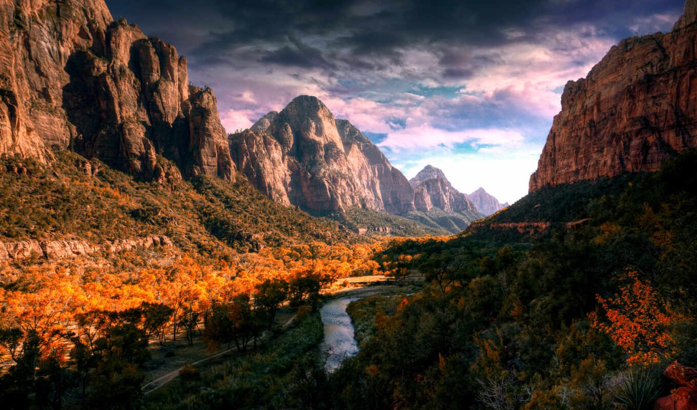 гора, park, national, zion, oir, природа, рельеф