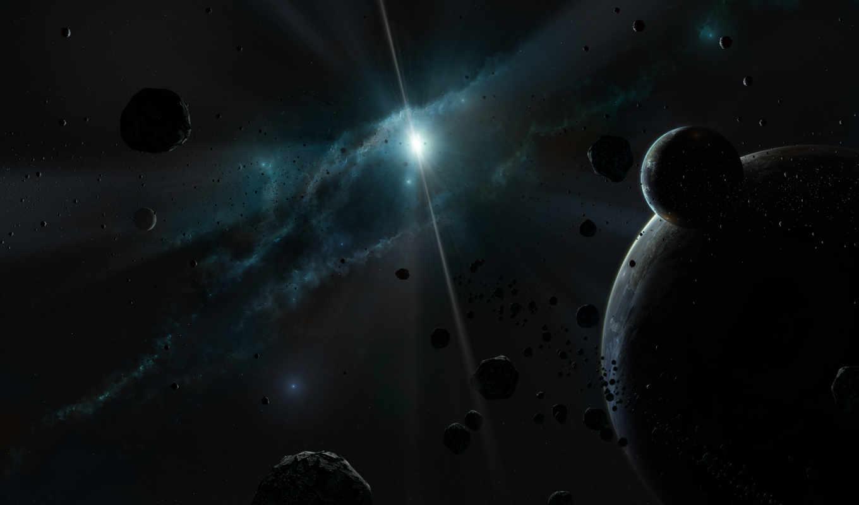 космос, планеты, звезды, свет, темный, туманность, астероиды,