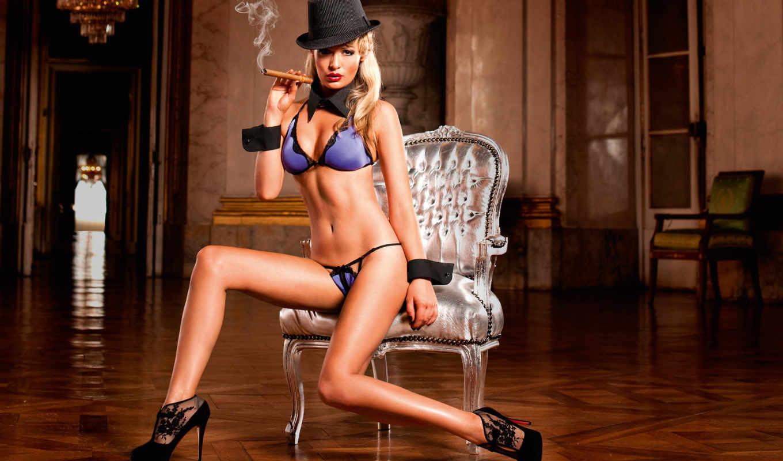 девушка, сигара, белье, гламур, шляпа, кресло, нижнее, модель, блондинка,