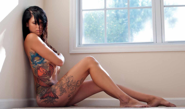 девушки, тату, девушка, татуировки, татуировкой, голая,