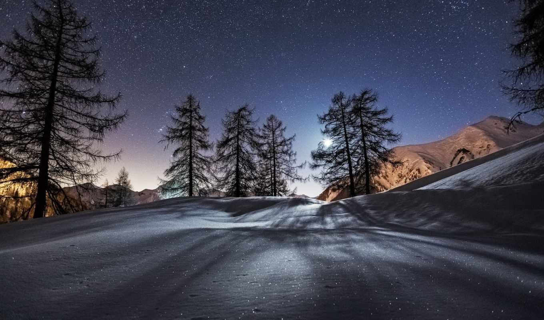 zima, noch, снег, звезды,