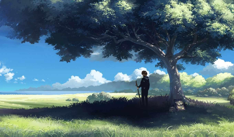 парень, аниме, обои, лето, дерево, категория, сове