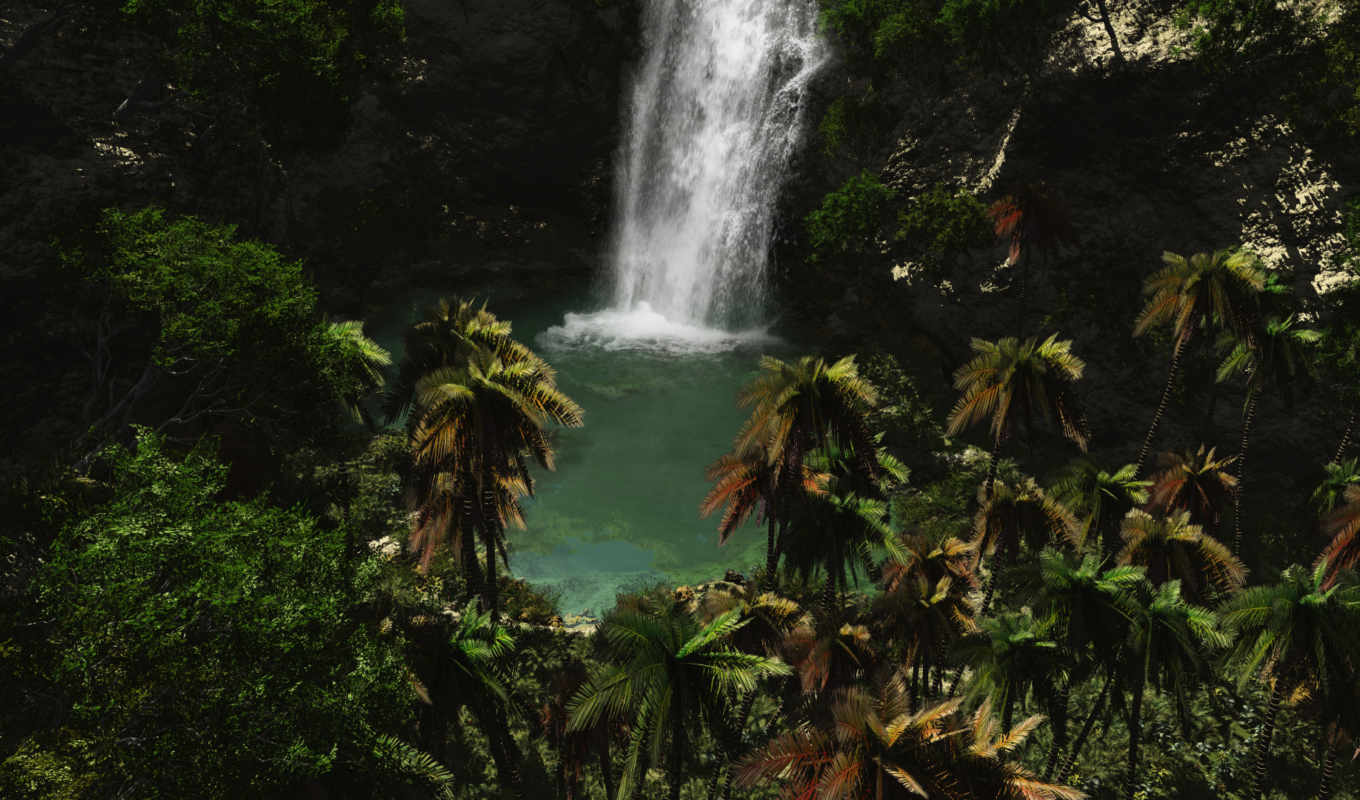 waterfall, jungle,