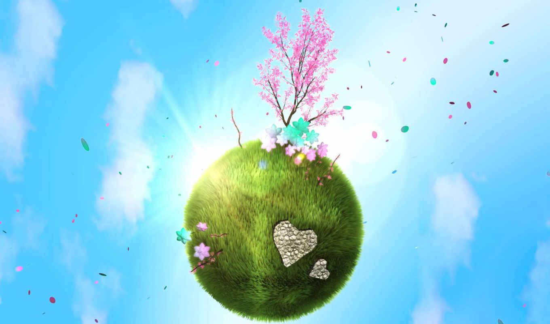 весна, планета, любовь, зелёная, деревце, планете, марта,