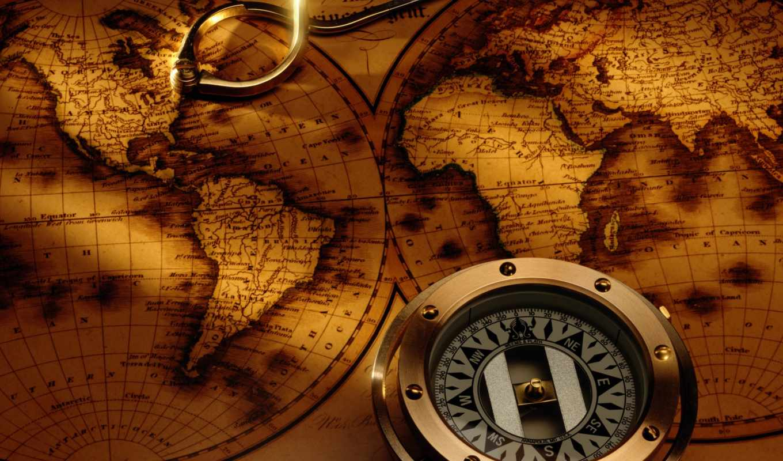 компас, карта, antique, map, compass,